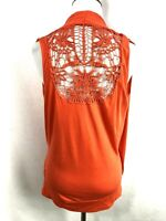 Cable & Gauge Womens Orange Top Crochet V-Neck Sleeveless Blouse Cross Front S