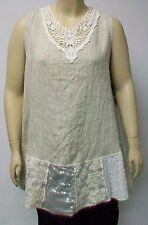 SANTOS,ITALY LIGHT BEIGE LARGE 100% LINEN SLEEVELESS TUNIC WITH EMBELLISHMENTS