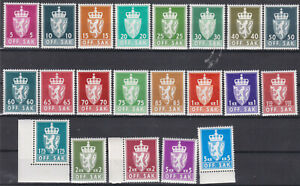 """Norway- 1955/64-Lot Officials-""""Coat of Arms"""", 21 values,all MNH"""