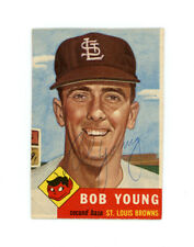 BOB YOUNG signed 1953 TOPPS baseball card #160 BROWNS