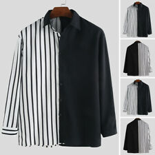 Mens Fashion Striped V Neck Button Up Top Shirt Long Sleeve Causal  Party Blouse