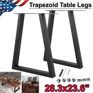 28'' Metal Table Legs DIY Industry Trapezoid Dinner Coffee Steel Desk Legs Set