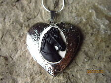 BLACK HORSE CAMEO SILVER PLATED HEART LOCKET -UNIQUE, HANDMADE, HORSE LOVER GIFT
