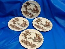 JOHNSON BROTHERS THE OLD MILL CHINA bread butter plate set of 4 vintage ENGLAND
