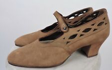 Flapper 1920'S Antique Cutout Brown Suede High Heel Shoes
