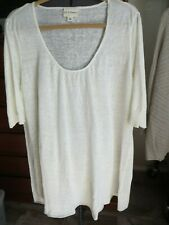 PURE DKNY LARGE ROUND NECK OFF WHITE LINEN LONG TUNIC