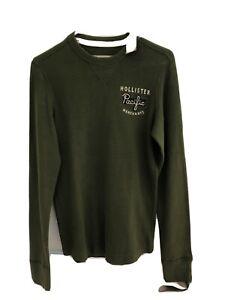 Hollister Long Sleeve Thermal Shirt Men's S Dark Green Olive Embroidered Logo