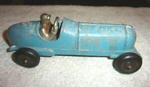 "Rare Old Vintage Original Hubley Kiddie Toy Blue Race Car # 457 7"" Long 1950s"
