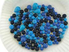 Vintage Japan & German Mixed Blue Round Drop Spacer Lucite Bead Lot Destash