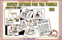 Hand Embroidery Transfer Chinese Workers for Days of the Week dish Towels # 1951