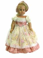 "Doll Clothes 18"" Colonial Dress Pink Yellow Floral Hat Fit 18"" AG Doll Elizabeth"