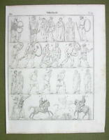 WARRIORS Sarmats Persians Britons Druids Celts Germans - 1825 Antique Print