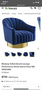Modway Tufted Accent Lounge Performance Velvet Swivel Chair EEI-3459-NAV
