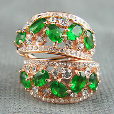 18k Rose Gold Plated With Swarovski Crystals Green Huggie Elegant Earrings
