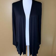 LOGO Lori Goldstein Brushed Jersey Duster Black M NEW A299607
