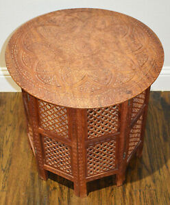 Vintage Solid Teak Wood Anglo Indian Carved Large Side Table Round Folding Table