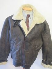 "Vintage B3 Real Shearling Sheepskin Bomber Aviator Leather Jacket L 42"" Euro 52"