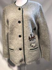 SIGI SCHEIBER Ladies 38/8US Austria Grey Cardigan Fence /bird Pure New Wool EUC