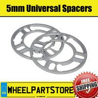 Wheel Spacers (5mm) Pair of Spacer Shims 5x100 for Skoda Fabia vRS [Mk2] 10-14