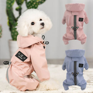 Reflective Dog Rain Coat Waterproof Hoodie Jumpsuit Clothes for Small Medium Dog