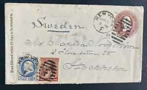 1887 New York USA Postal Stationery Front Cover To Stockholm Sweden