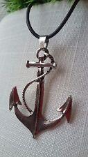 großer Anker Anhänger Kette Halskette Echt Leder Maritim Unendlichkeit Silber
