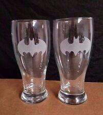 SET OF 2  ETCHED BEER PILSNER DRINKING GLASSES, BATMAN LOGOS