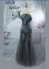 Grey Long Prom Dresses Quinceanera Party Formal Evening Gowns Size 12