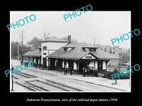 OLD LARGE HISTORIC PHOTO OF OAKMONT PENNSYLVANIA, THE RAILROAD STATION c1920