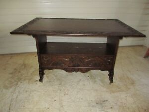 Antique Quarter Sawn Oak Highly Carved Table Bench!