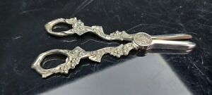 A Pair Of Antique Silver Plated Grape Scissors With Embossed Patterns