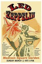 Led Zepplin 1975 - Concert VINTAGE BAND POSTERS Music Rock Blues Old Advert #ob