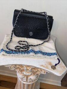 Tory Burch Black Leather Glazed Weave Straw  Chain Strap Crossbody Purse DUSTBAG