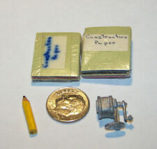 Lot of (4) Miniature items Old-Fashion PENCIL SHARPENER, Pencil & 2 Pk of CPaper