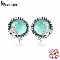 BAMOER .925 Sterling Silver Stud Earrings Mermaid love Glass For Women Jewelry