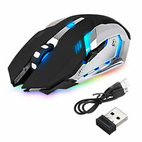 LED LASER USB WIRELESS OPTICAL GAME GAMING MOUSE RECHARGABLE X7