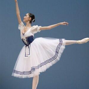 Classical Short Puff Sleeve Ballet Costume Long Ballet Leotard Dress Tutu
