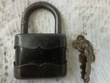 Antique Black Iron Padlock w/keys Works Found in old barn clean out Made in USA