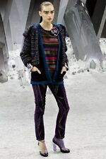 $2090 12 A NEW CHANEL Purple Green Amber Crystal Stripes Sweater Pullover 38