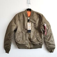 Alpha Industries MA-1 Reversible Bomber Jacket Vintage Olive Mens Slim Fit XS-L