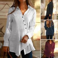 ZANZEA Womens Long Sleeve Daily Buttons Tops Casual Loose Tunic Shirt Tee Blouse