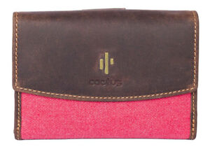 Cactus Red RFID Medium Leather/Canvas Flap Over Tab Purse RRP £35.99