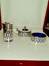 A SOLID STERLING SILVER 3 PC CONDIMENT SET MUSTARD, SALT & PEPPER .plus ONE