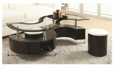 3 PC S Shape Cappuccino Tempered Glass Top Coffee Table with Shelf Ottomans Set