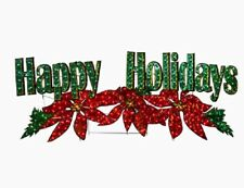 """72"""" Lighted Poinsettia Happy Holidays Sign Outdoor Christmas Yard Decor Lawn"""