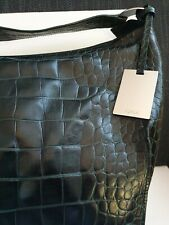 Furla Large Borsa hobo bag, dark green croc leather. New 💕