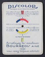 Ancien carton publicitaire DISCOLOR Bourgeois Ainé couleur peinture paint