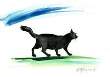 Bild A5 Unikat Aquarell Abstrakt Original cat Katze chat gato neu signiert