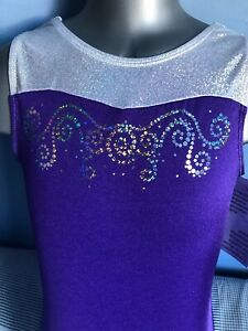 "GK Gymnastics Leotard  - 30"" AXS Purple and Silver"