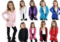 Kids Girls Open Front Slouch Long Hip Boyfriend Pocket Cardigan Top Age 5-13